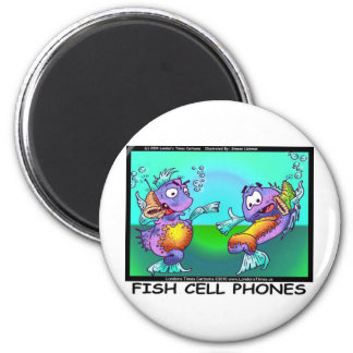 Fish Cell Phones Funny Tees Mugs Cards & Gifts 6 Cm Round Magnet