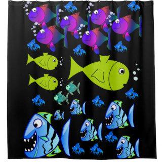 fish children's shower curtain black