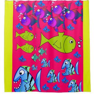 fish children's shower curtain pink yellow