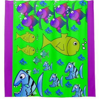 fish children's shower curtain purple green