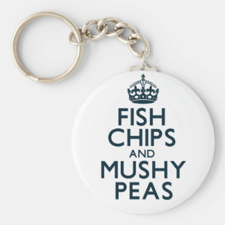 Fish Chips and Mushy Peas Basic Round Button Key Ring