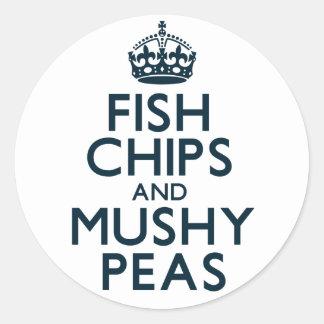 Fish Chips and Mushy Peas Classic Round Sticker