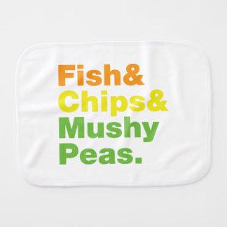 Fish & Chips & Mushy Peas. Burp Cloth