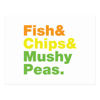 Fish & Chips & Mushy Peas. Postcard