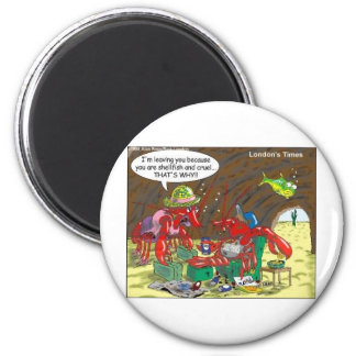 Fish Divorce Funny Cartoon Gifts Tees Collectibles 6 Cm Round Magnet