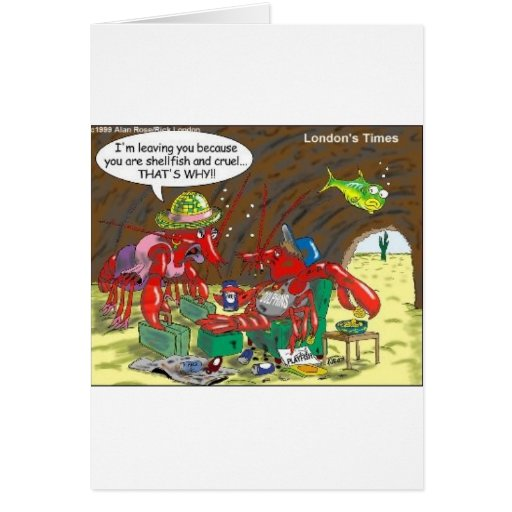 Fish Divorce Funny Cartoon Gifts Tees Collectibles Greeting Card