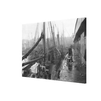 Fish docks, Grimsby, early 20th century Canvas Print