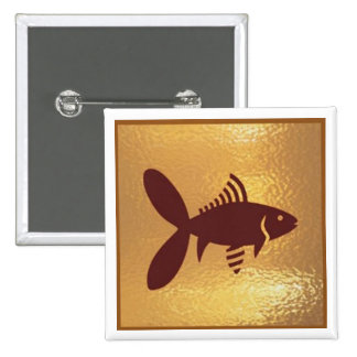 Fish Exotice Marine Life - Medal Icon Gold Base 15 Cm Square Badge