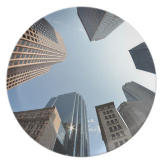 Fish-eye lens of building, Boston, US Plate