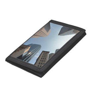 Fish-eye lens of building, Boston, US Trifold Wallet