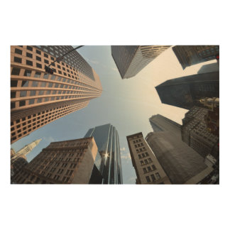 Fish-eye lens of building, Boston, US Wood Canvases