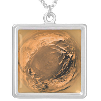 Fish-eye View of Titan's Surface Silver Plated Necklace