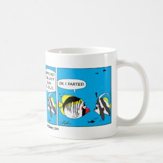 Fish farting comic mug