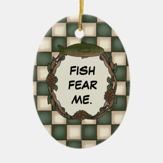 Fish Fear Me Funny Fishing Personalized Photo Ceramic Oval Decoration
