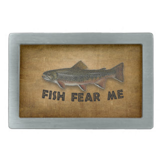 Fish Fear Me Funny Fishing Sports Rectangular Belt Buckle