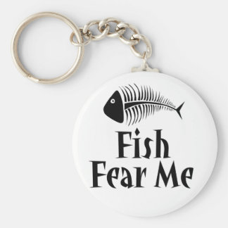 Fish Fear Me Basic Round Button Key Ring