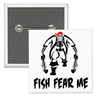 Fish Fear Me Pirate 15 Cm Square Badge