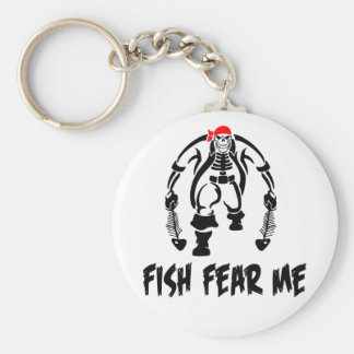 Fish Fear Me Pirate Basic Round Button Key Ring