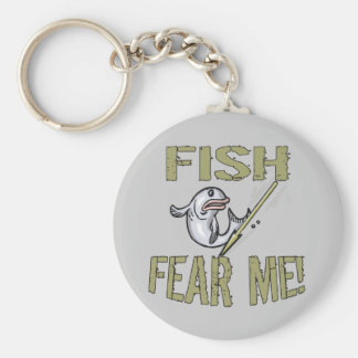 Fish Fear Me T-shirts and Gifts Basic Round Button Key Ring