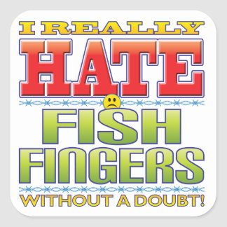 Fish Fingers Hate Face Square Stickers