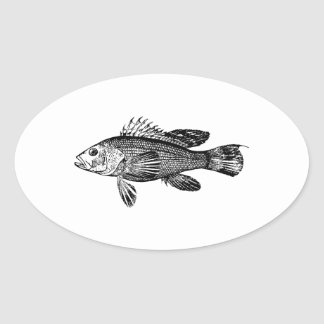 Fish Fisherman Sea Collection Oval Sticker