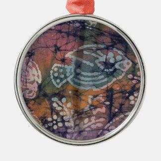 Fish & Floral Tie-Dye Batik Silver-Colored Round Decoration