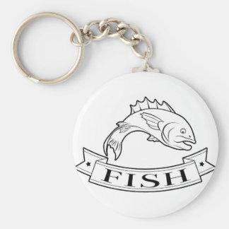 Fish food label key chains