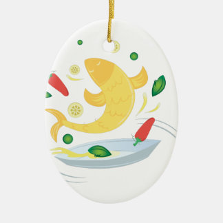 Fish Fry Ceramic Oval Decoration