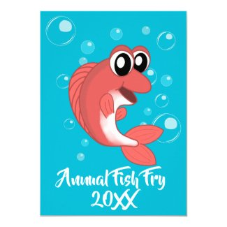 Fish Fry Seafood Boil Party w Red Fish and Bubbles Invitation