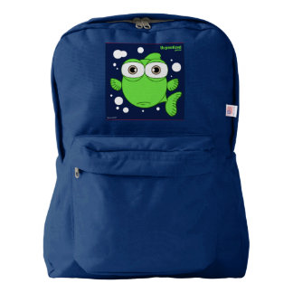 Fish(Green) Backpack, Navy Backpack