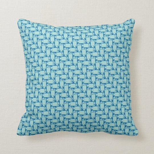 Fish Herringbone Aqua Blue Throw Pillow