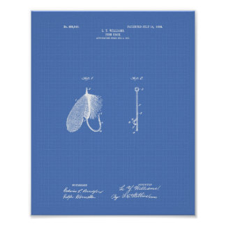 Fish Hook 1908 Patent Art Blueprint Poster