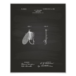 Fish Hook 1908 Patent Art Chalkboard Poster