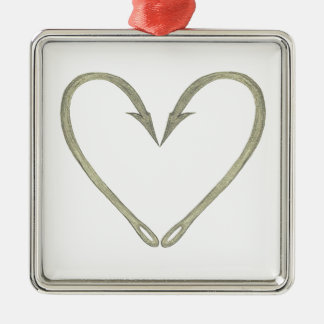 Fish Hook Heart Christmas Ornament