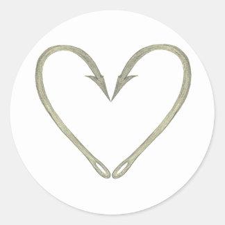 Fish Hook Heart Classic Round Sticker
