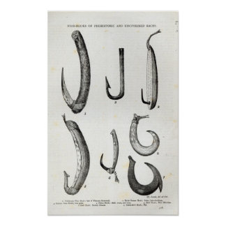Fish-hooks of Prehistoric and Uncivilised Poster