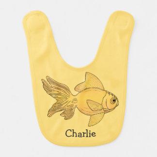Fish illustration custom name baby bib