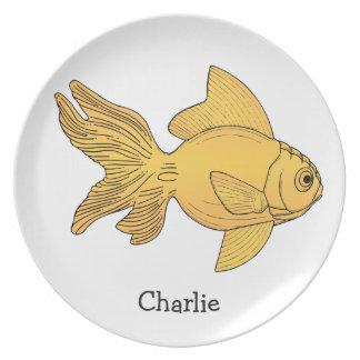 Fish illustration custom name melamine plate