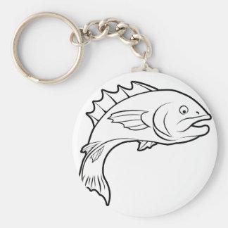 Fish illustration key chain