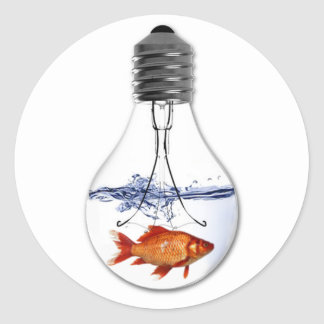 Fish in a Light Bulb | quirky Goldfish Design Round Sticker