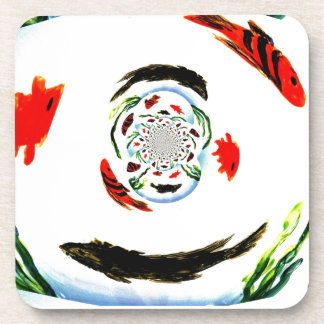 """""""Fish in a Spin"""" Fun Abstract Underwater Art Coaster"""