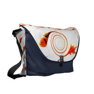 Fish in a Swirl abstract art Courier Bags