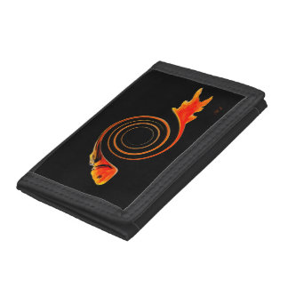 Fish in a Swirl abstract art Tri-fold Wallet