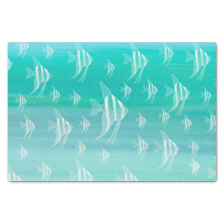 Fish in aquamarine colored ocean tissue paper
