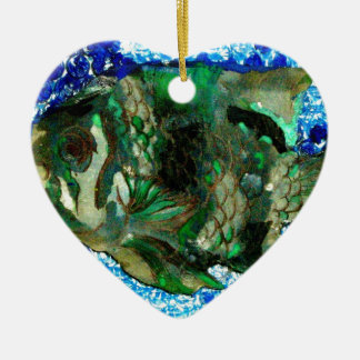 fish in Blue Water Ceramic Heart Decoration