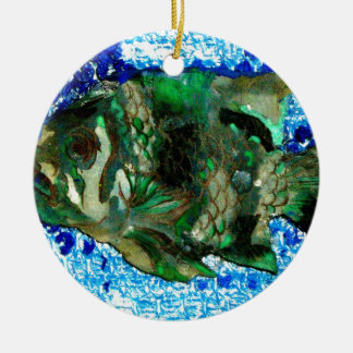 fish in Blue Water Round Ceramic Decoration