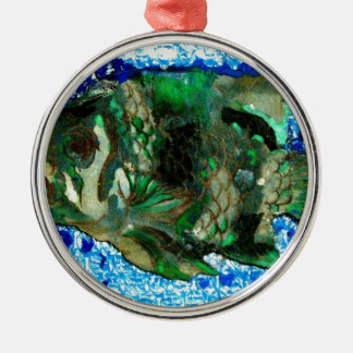 fish in Blue Water Silver-Colored Round Decoration