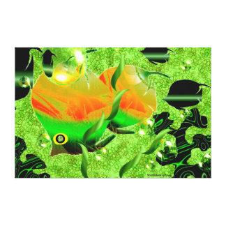 Fish  in Green Ocean  - Canvas Print