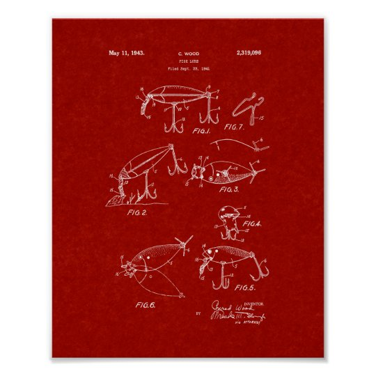 Fish Lure Patent - Burgundy Red Poster