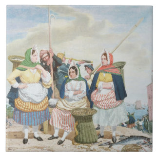 Fish Market by the Sea, c.1860 (oil on canvas) Tile